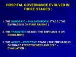 hospital governance evolved in three stages
