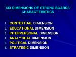 six dimensions of strong boards characteristics