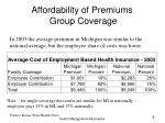 affordability of premiums group coverage