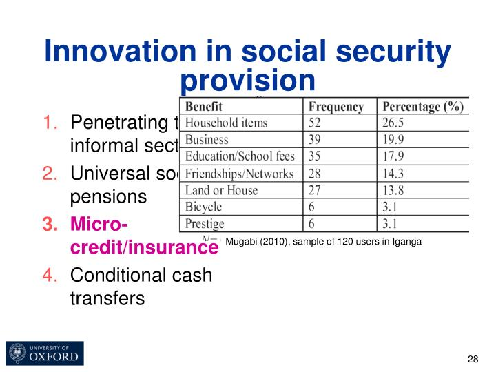Innovation in social security provision