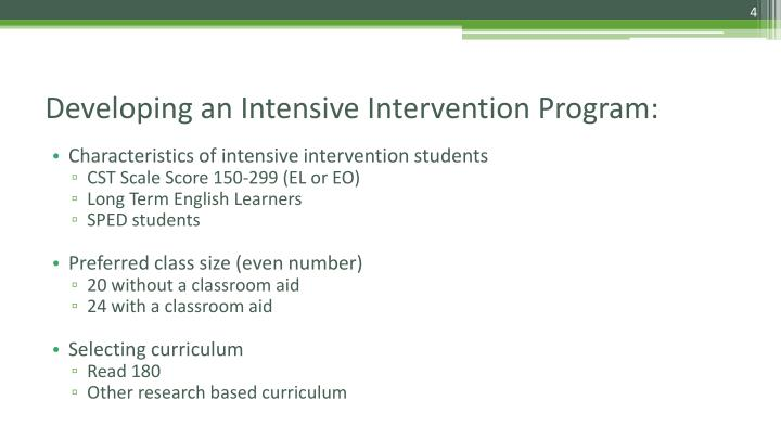 Characteristics of intensive intervention students