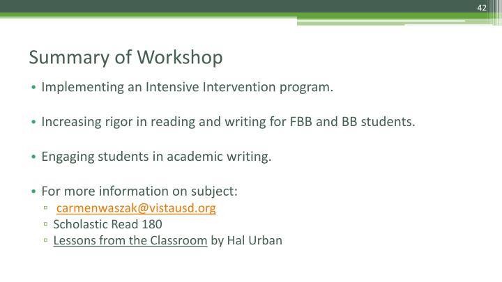 Implementing an Intensive Intervention program.