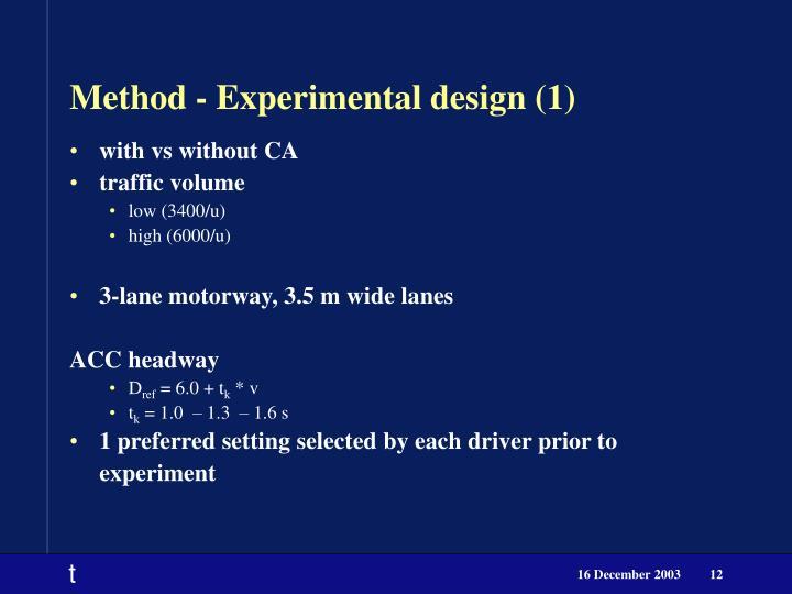 Method - Experimental design (1)