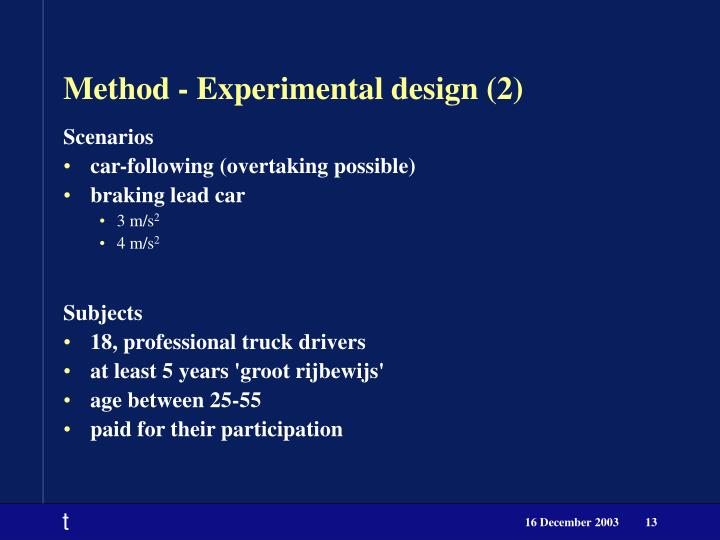 Method - Experimental design (2)