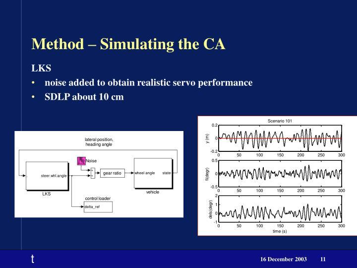 Method – Simulating the CA