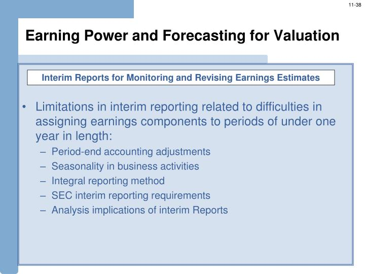 Earning Power and Forecasting for