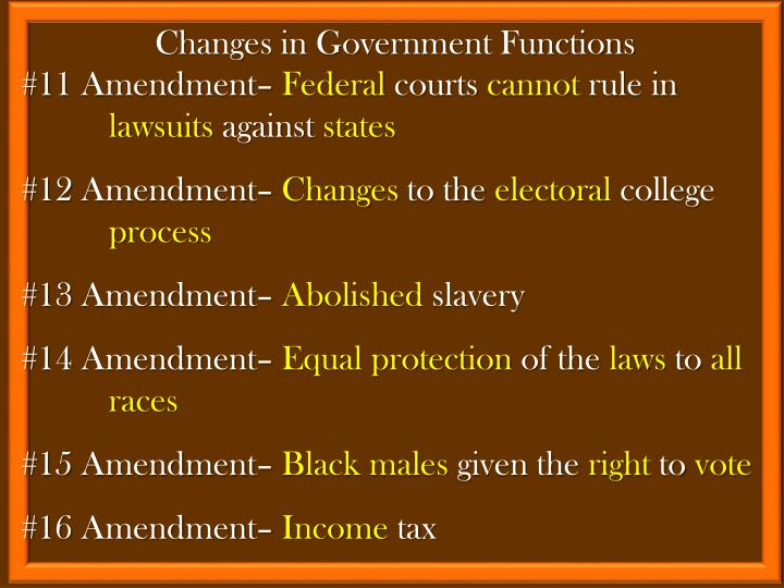 Changes in Government Functions