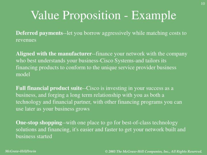 Value Proposition - Example