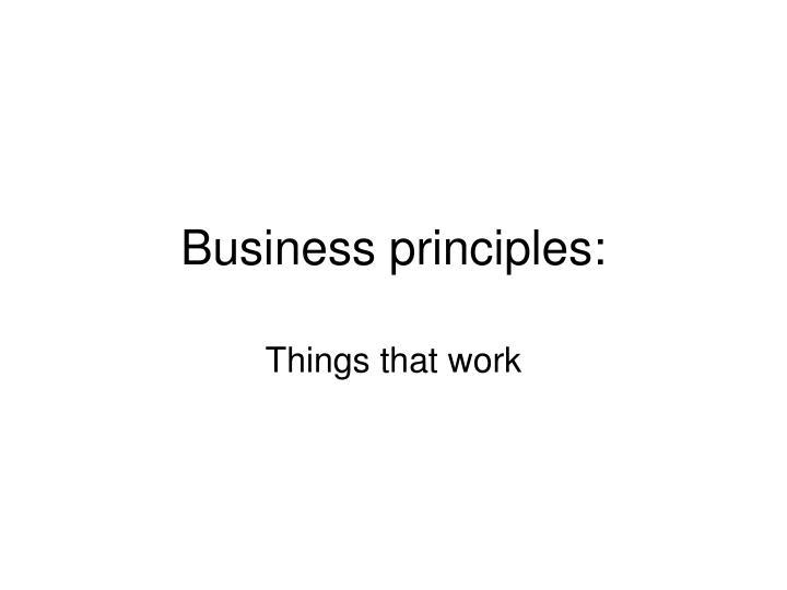 Business principles: