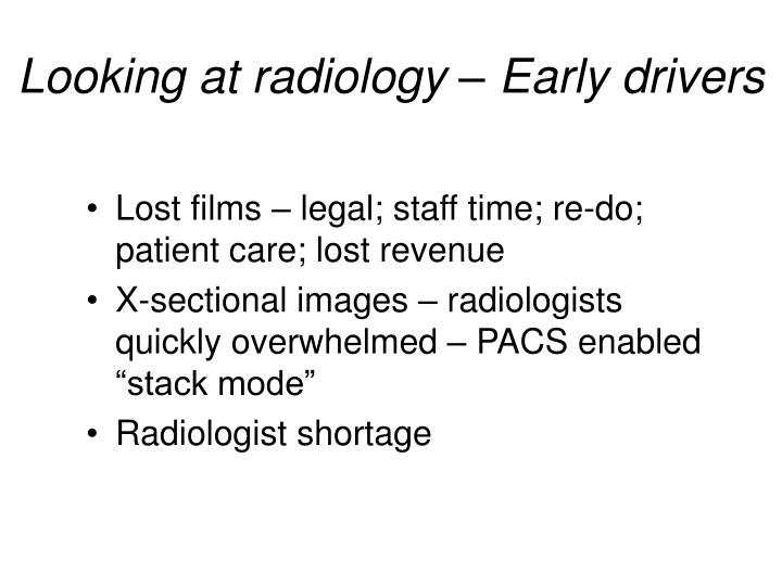 Looking at radiology – Early drivers