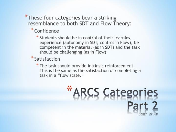These four categories bear a striking resemblance to both SDT and Flow Theory: