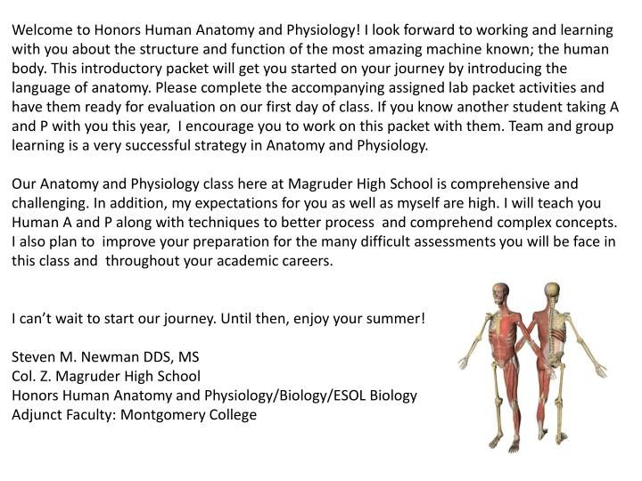 PPT - Col. Z. Magruder High School Honors Human Anatomy and ...