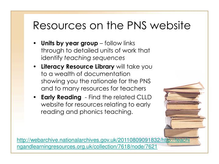 Resources on the PNS website