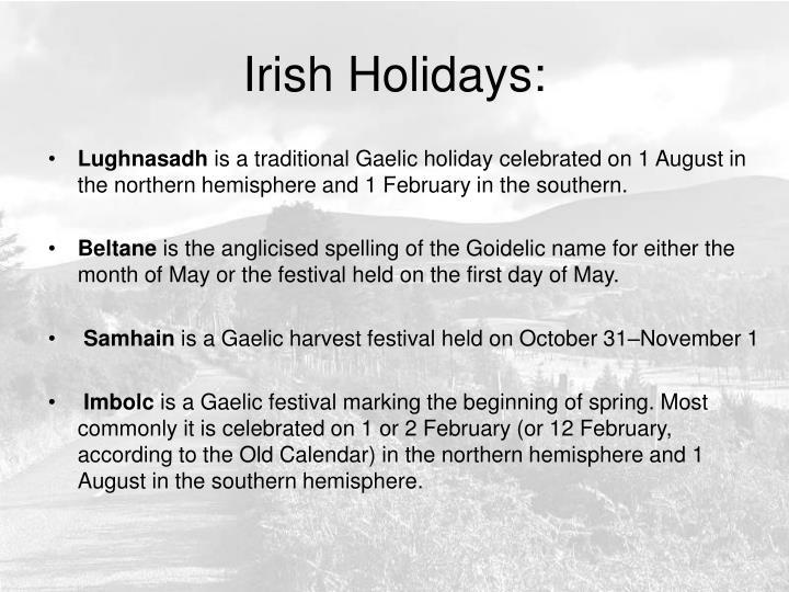 Irish Holidays: