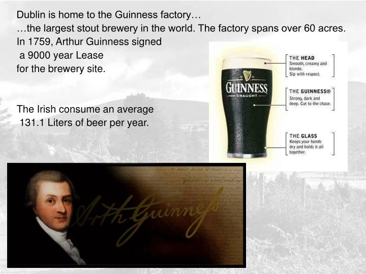 Dublin is home to the Guinness factory…