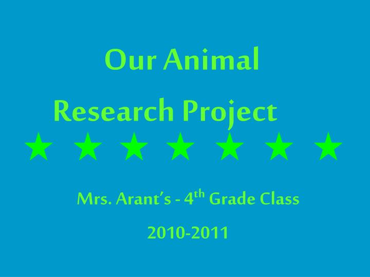 our animal research project n.