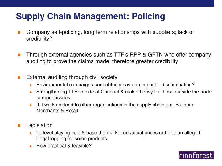 Supply Chain Management: Policing