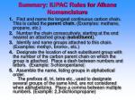summary iupac rules for alkane nomenclature