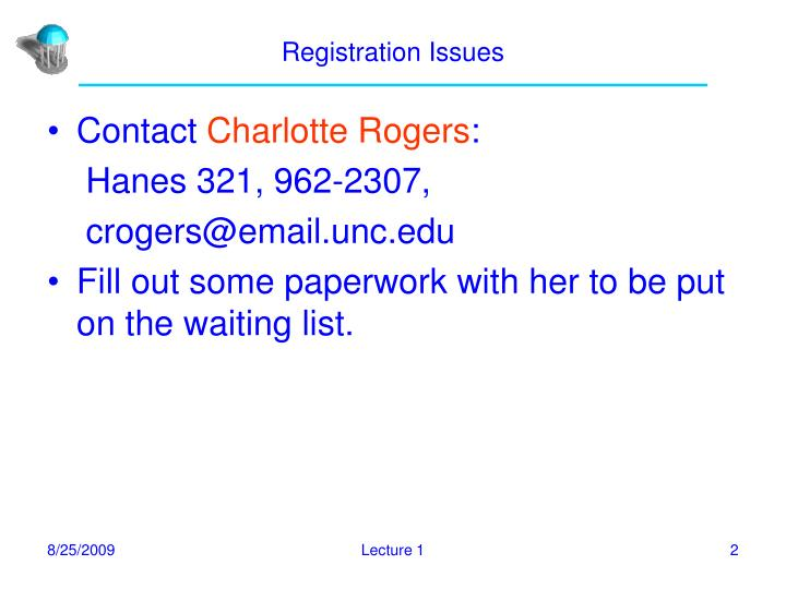 Registration issues