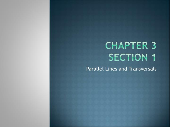 Chapter 3 section 1