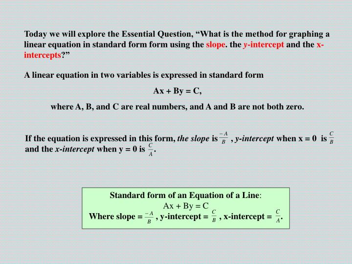 Ppt A Linear Equation In Two Variables Is Expressed In Standard