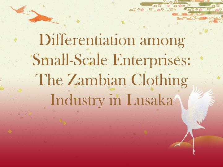 differentiation among small scale enterprises the zambian clothing industry in lusaka n.