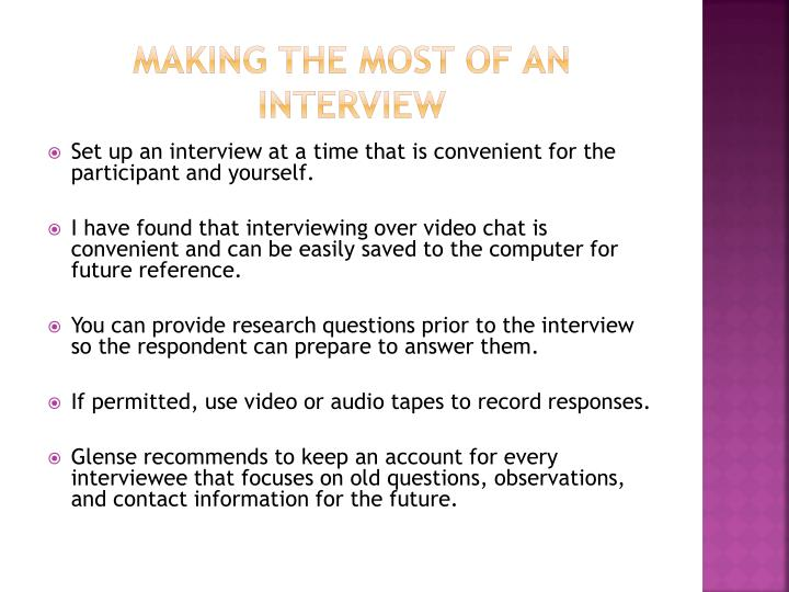 Making the Most of an Interview