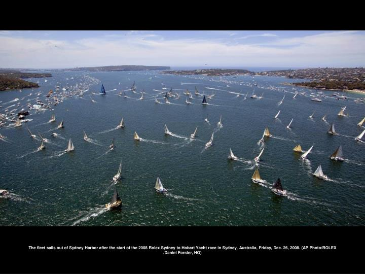 The fleet sails out of Sydney Harbor after the start of the 2008 Rolex Sydney to Hobart Yacht race in Sydney, Australia, Friday, Dec. 26, 2008. (AP Photo/ROLEX /Daniel Forster, HO)