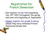 registration for french immersion