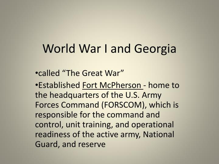 World War I and Georgia