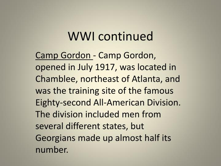 WWI continued