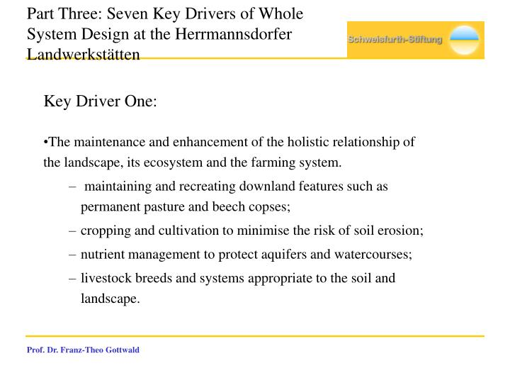 Part Three: Seven Key Drivers of Whole System Design at the Herrmannsdorfer Landwerkstätten