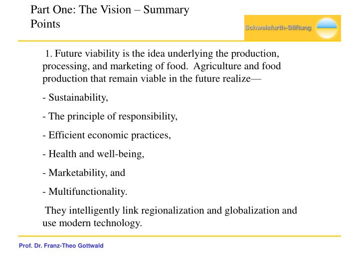 Part One: The Vision – Summary Points