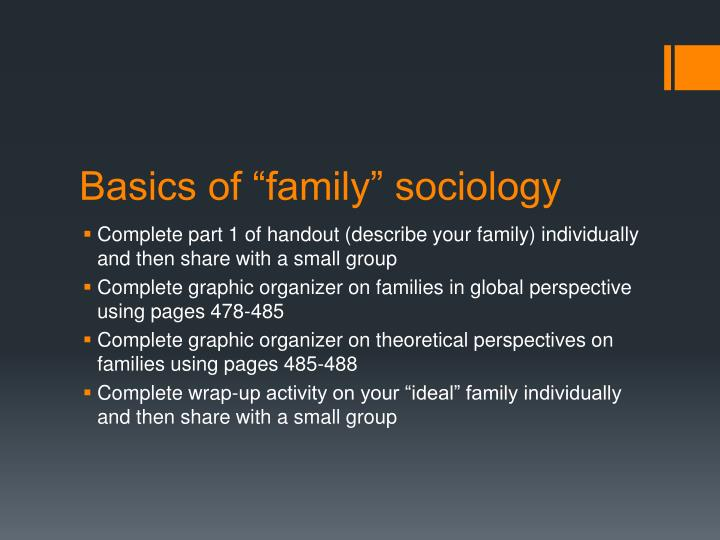 sociology families Critical, sociological analysis of intimate, personal interactions, relationships, roles and social selves as major features of the dominant patterns of marriage and family.