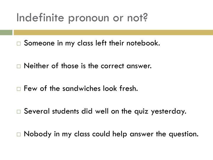 Indefinite pronoun or not?