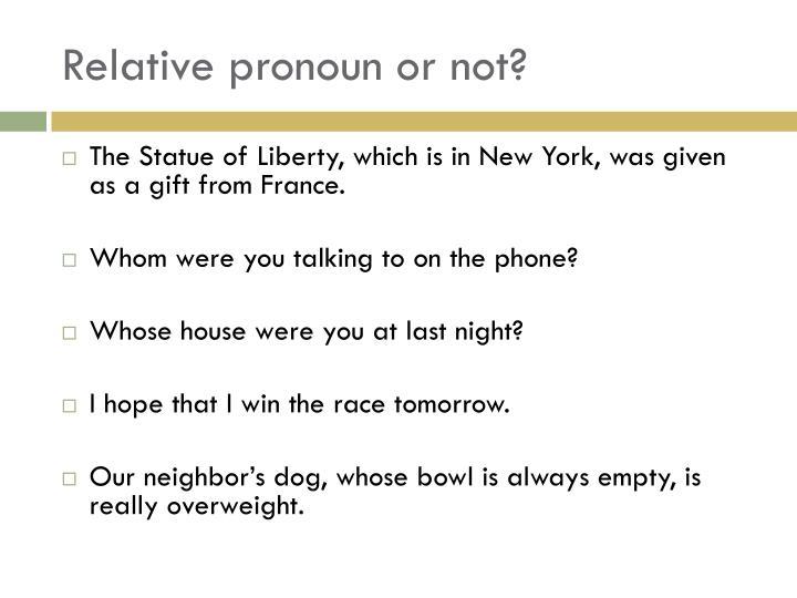 Relative pronoun or not?