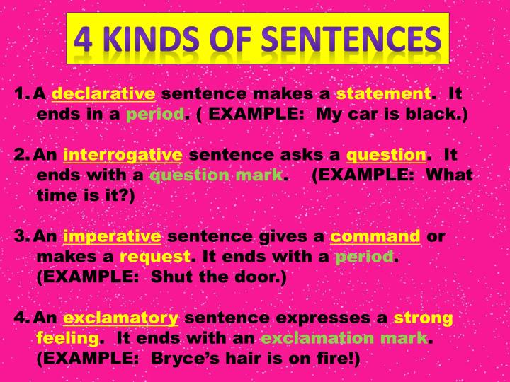 Ppt 4 Kinds Of Sentences Powerpoint Presentation Id2735485