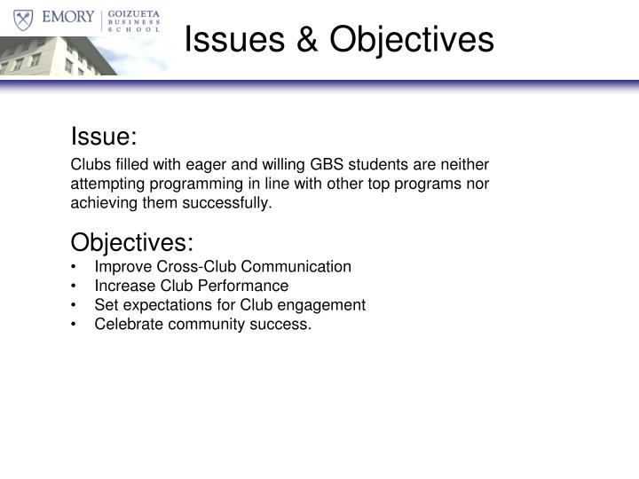 Issues objectives