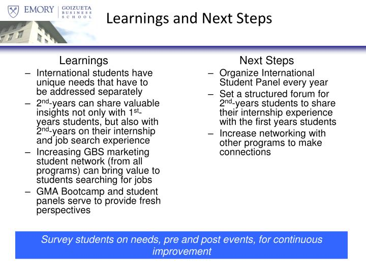 Learnings and Next Steps