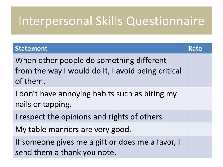 Interpersonal Skills Questionnaire