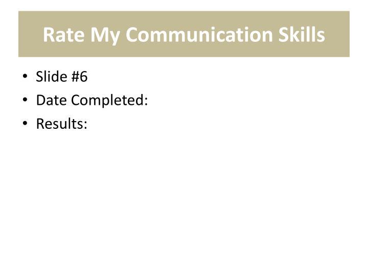 Rate My Communication Skills