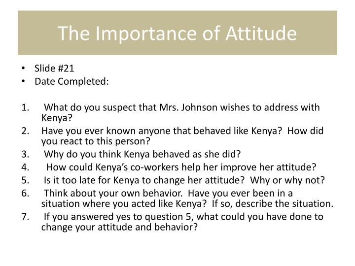 The Importance of Attitude