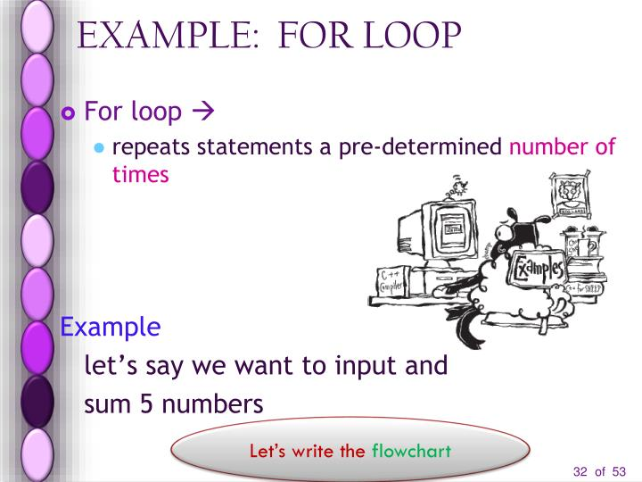 EXAMPLE:  FOR LOOP