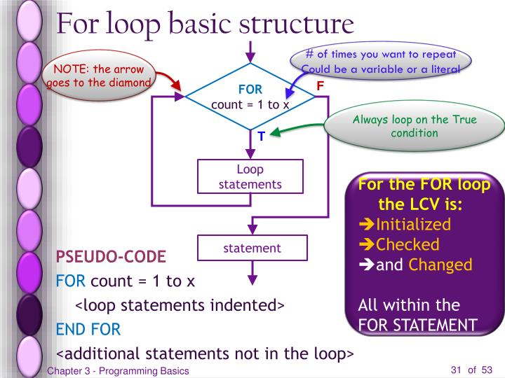 For loop basic structure