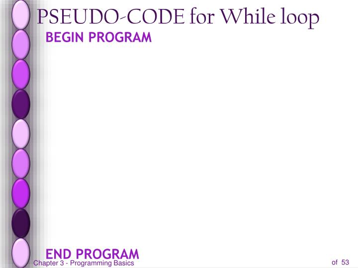 PSEUDO-CODE for While loop