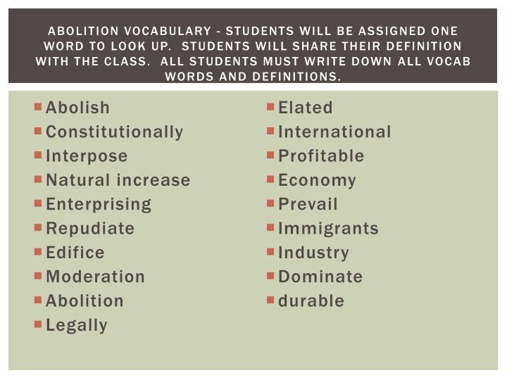 Abolition Vocabulary -