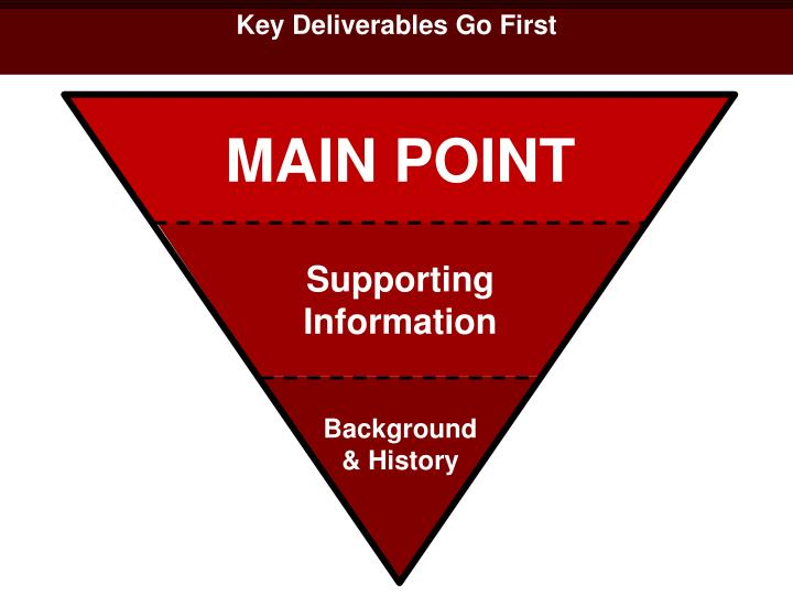 Key Deliverables Go First