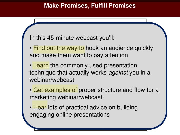 Make Promises, Fulfill Promises