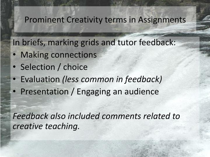 Prominent Creativity terms in Assignments