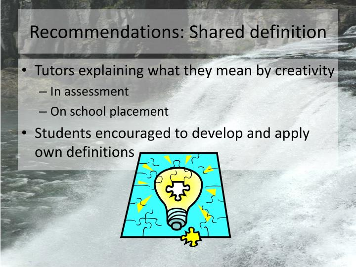 Recommendations: Shared definition